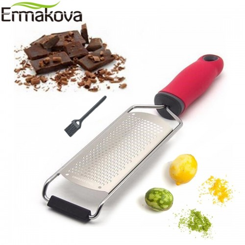 ERMAKOVA Wide Cheese Grater Citrus Lemon Zester Ginger Potato Garlic Chocolate Slicer Spreader with Plastic Cover
