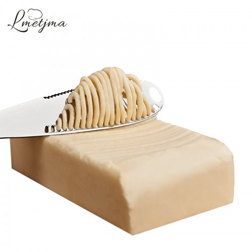 LMETJMA 3 in 1 Stainless Steel Butter Knife Cheese Dessert Jam Spreaders Cream Scraper Bread Splitter