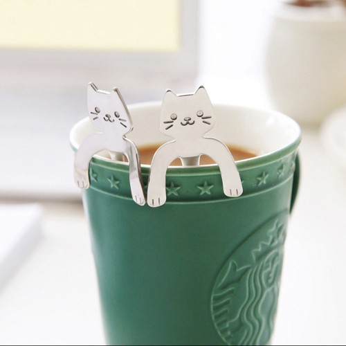 1 Piece Cute Cat Spoon Long Handle Spoons Flatware Drinking Tools Kitchen Gadget stainless steel coffee