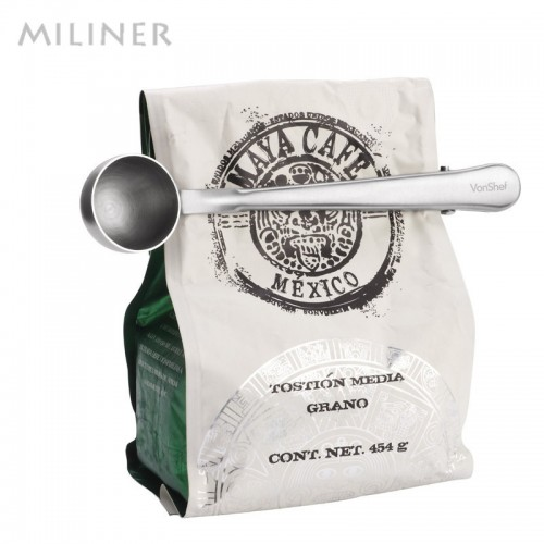 1 pc Multifunction Stainless Steel Coffee Scoop With Clip Coffee Tea Measuring Scoop 1Cup Ground Coffee
