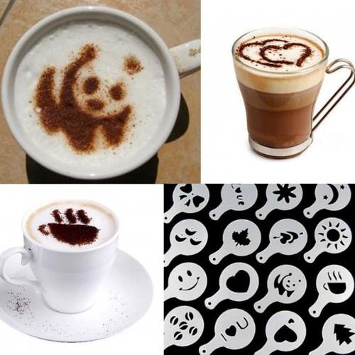 16Pcs Coffee Latte Art Stencils DIY Decorating Cake Cappuccino FoamTool CN Color White