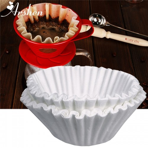 Arshen 50pcs Set White Coffee Filters Single Serving Paper for Coffee Machine 24CM White Filter Paper