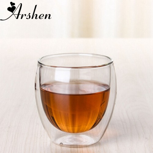 Arshen New Technology 80ml Clear Double Wall Double Glassware Coffee Tea Cups Glassware Milk Beer Soup