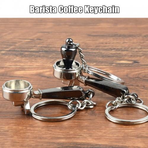 Coffee Tamper Handle Keychain Portable Zinc Alloy Keyring Coffeeware Tools Promotion Espresso Coffee Accessories Barista