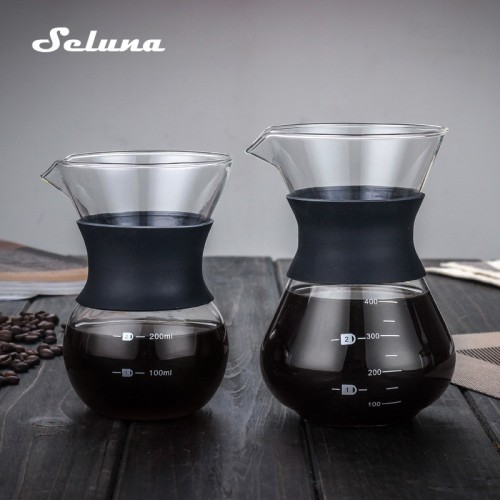 Glass Coffee Kettle with Stainless Steel Filter Drip Brewing Chemex Brewer Coffee Pot Dripper Barista