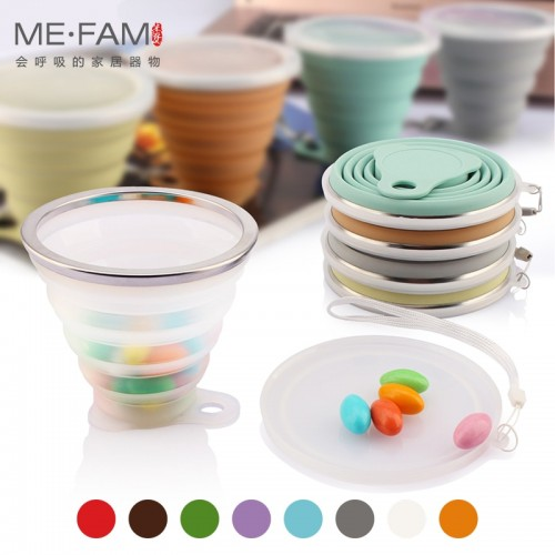 ME FAM 270ml Stainless Steel Silicone Folding Cup With Lanyard Dustproof Cover Lid Outdoor Coffee Cups