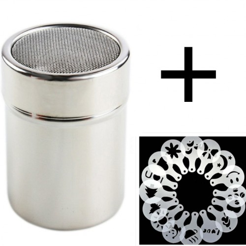 Miliner Stainless Steel Chocolate Shaker Cocoa Flour Coffee Sifter 16Pcs Coffee Stencils Template Strew Pad Duster