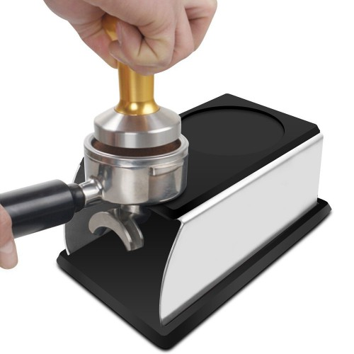 Realand Sturdy Stainless Steel Silicone Espresso Coffee Tamper Stand Barista Tool Tamping Holder Rack Shelf Coffee