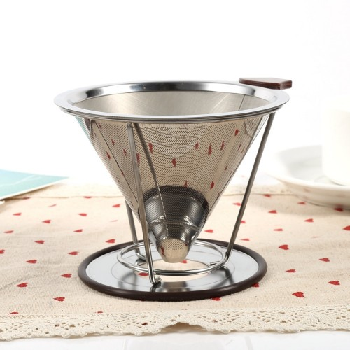 Stainless Steel Cone Coffee Filter Dripper Double Layer Mesh Coffee Cone Filter Holder Infuse Home Kitchen
