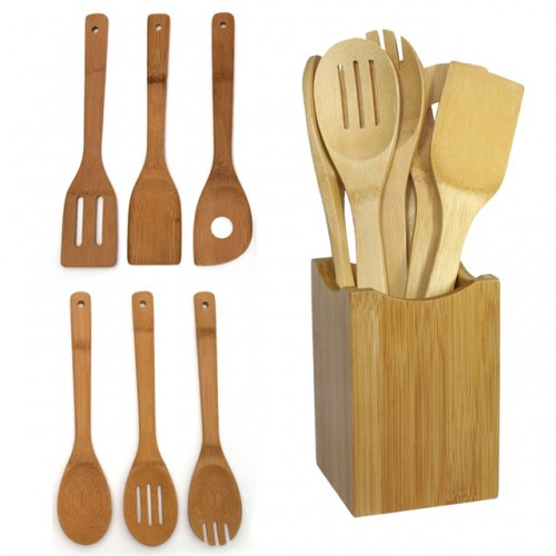 High Quality 6 Pieces Bamboo Spoon Spatula Mixing Set Utensil Kitchen Wooden Cooking Tool .jpg 640x640