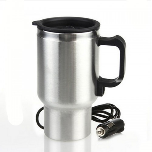 Stainless steel car electric cup 450ml 12V cigarette lighter converter car stylin thermos flask