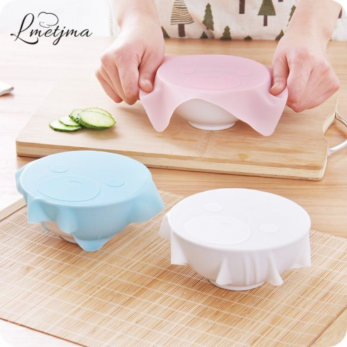 LMETJMA 3pcs set Reusable Silicone Food Covers Set Stretch and Fresh Kitchen Silicone Food Wraps Seal