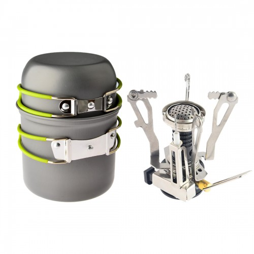 Outdoor Camping Hiking Backpacking Picnic Cookware Cooking Tool Set Pot Pan Piezo Ignition Canister Stove travel