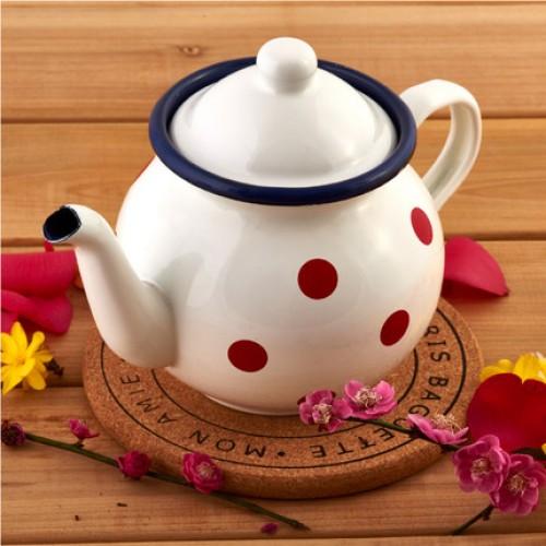 ZHENWEN Polka Dot Enamel Teapot Coffee Pot