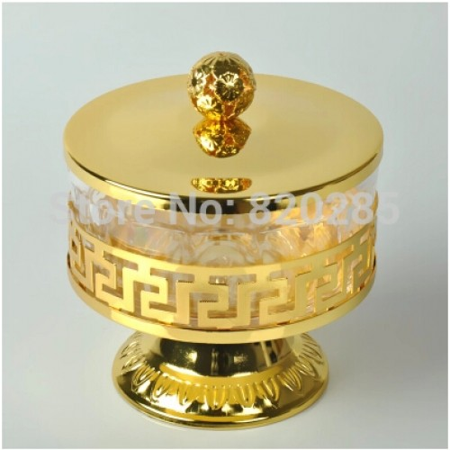 Unique European style gold finish metal acrylic salt sugar tea coffee jars high quality