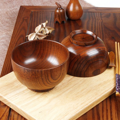 HOT 10cm Natural Jujube Wooden bowl soup rice Noodles bowls Kids lunch box kitchen tableware for