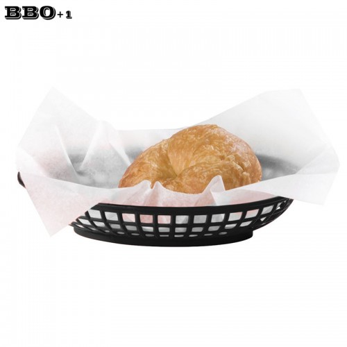 Hot 12 pcs 9 25 Classic Oval Plastic Serving Basket Black Fast Food Basket Dozen Side