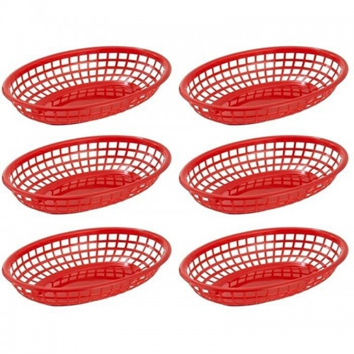 Hot 6pcs Dishes and Plates sets Oval Plastic Fast Food Baskets Serving Tray Food Serving Basket
