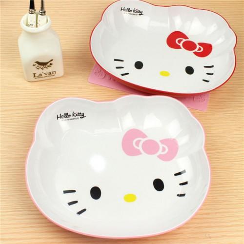 Kawaii Hello Kitty Cat face Melamine Cartoon Dinnerware Four frame plate Fruit plate plate tray plate.jpg 640x640
