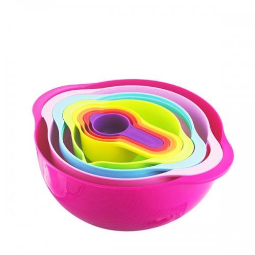 Multi function rainbow bowl 8 sets Measuring spoon Mixing bowl kitchen Basin Baking measuring cup utensils