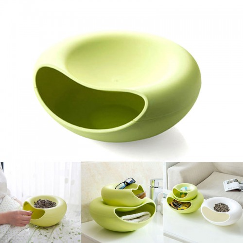 Multipurpose Storage Box Shelving Double Layer Dish Plate Lazy Fruit Candy Snack Peel Residue Separation Sundries
