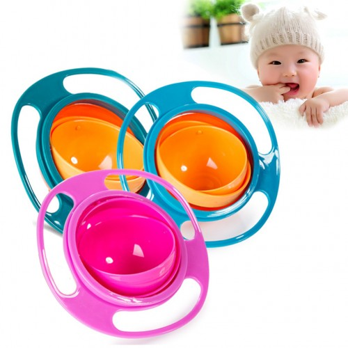 Novelty ABS Plastic Healthy Baby Kids Non Spill Feeding Toddler Saucer Bowl Practical 360 Rotating Design