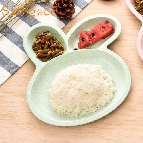 Saingace lovely Dishes Plates Natural Healthy Wheat Straw Cute Rabbit Shape Grid Plate Snack Lunch Plate