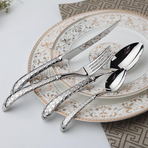 Stainless Steel Dinnerware Set 24 Pcs Steel Dinner Set Metal Fork Vintage Knives Forks Wedding Cutlery
