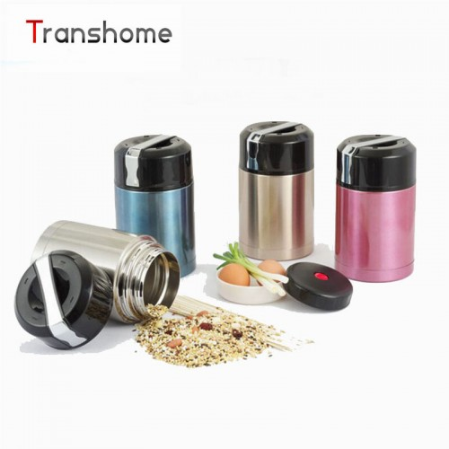 TRANSHOME 800ml 2 layer Vacuum Stainless Steel Meal box with Handle Frost for Food Container Exquisite