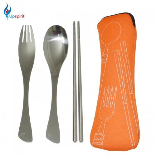 Upspirit Outdoor Camping Cutlery Set 3PCS Portable Dinnerware Set Travel Picnic Tableware Chop stick Bigspoon Fork