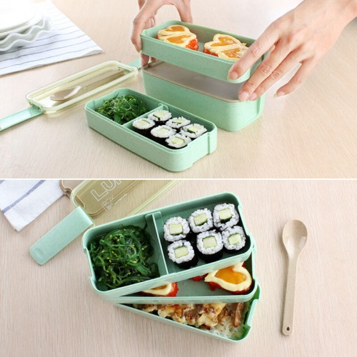 WORTHBUY 3 Layers Japanese Microwave Bento Box Wheat Straw Plastic Lunch Boxs Kids Picnic Camping Container