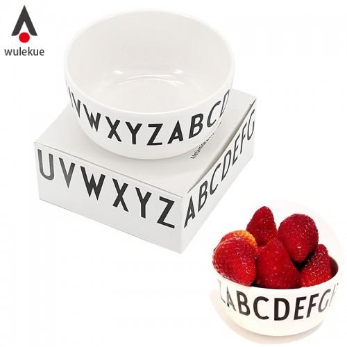 Wulekue 1PCS Melamine Round Shape English Alphabet Letters Bowl For Fruit Rice Soup Vegetables Snacks Baby