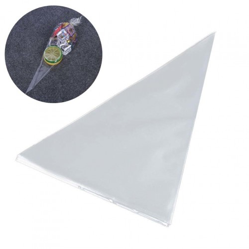 100 Pcs Cellophane Bags Transparent Triangle OPP Plastic Treat Bags Food Packaging Bags Candy Bags With
