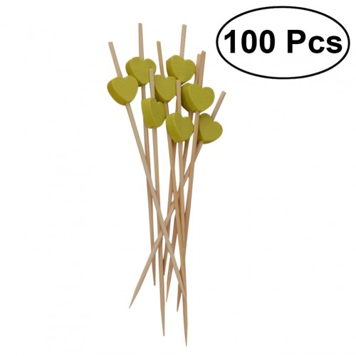 100Pcs Bamboo Fruit Picks Disposable Cocktail Toothpicks Food Sandwich Pick Sticks Party Supplies Light Green