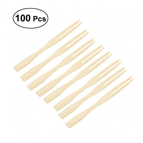 100pcs Bamboo Fruit Picks Disposable Fruit Forks Food Picks Sticks Party Supplies