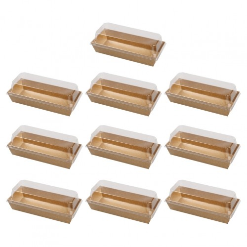 10PCS Rectangular Kraft Paper Sandwich Wrapping Boxes Cake Bread Snack Bakery Packing Box with Plastic Clear