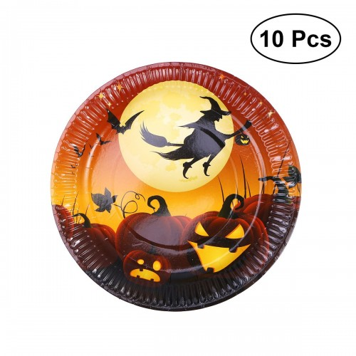 10pcs Halloween Disposable Paper Plates Decorative Food Plates to Party Festival No 1