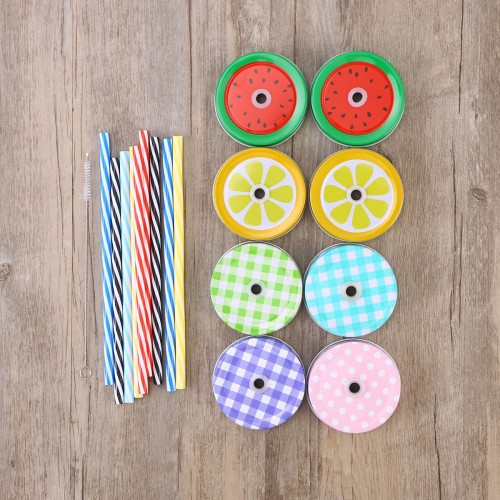 17 Piece Lovely Cute Colorful Decorative Mason Jar Lids with Straw Hole 8 Lids 8 Striped