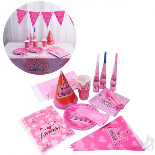 83pcs set Happy Birthday Paty Decorations Set Wedding Anniversary Engagement Party Supplies Ornaments Pink Crown Party