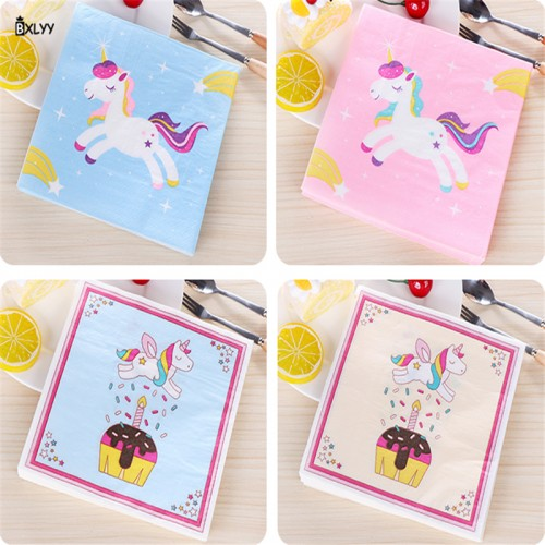 BXLYY 20pc unicorn paper towel children birthday party supplies decorative tablecloths home decorations Halloween Christmas 7z