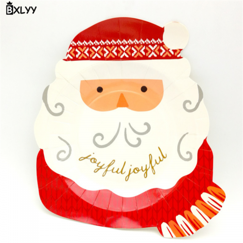 BXLYY Christmas Tray Santa Claus Head Disposable Tray Party Supplies Cake Dessert Plate Christmas Decoration