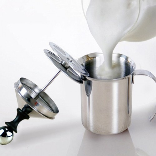 800 400ML Stainless Steel Milk Frother Pump Coffee Mixer Milk Foamer Cappuccino Latte Double Mesh Delicate