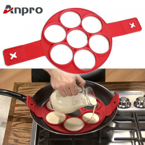 Anpro Nonstick Cooking Tool Egg Ring Maker Egg Silicone Mold Pancake Cheese Egg Cooker Pan Flip