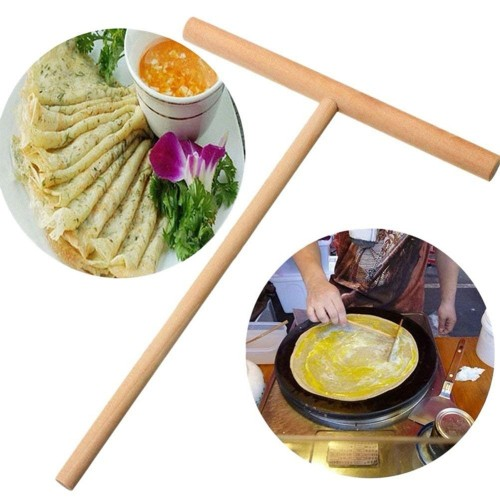 Practical DIY T Shape Wooden Rack Spreader Pancake Egg Maker Chinese Crepes Omelette Pie Kitchen Accessorries
