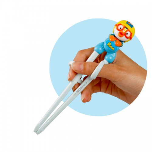 New Design Kids Practise Chopsticks 3D Pororo Edible Safety ABS Silicone Assistance Exercise Children Creative