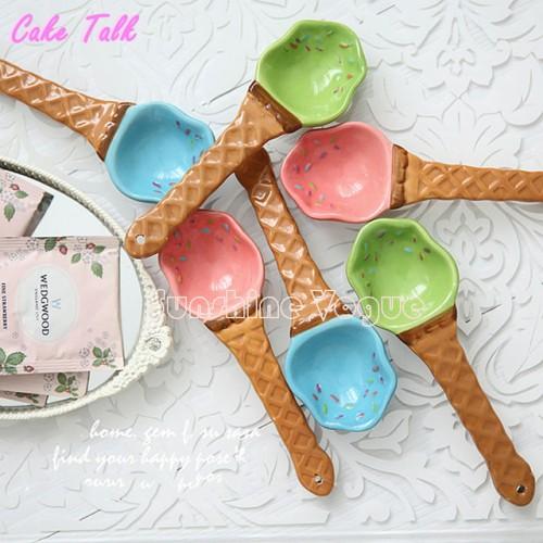 Ceramic Ice Cream Spoon Waffle Dessert Spoon 1 Piece 15cm Creative Scoop Decoration For Party