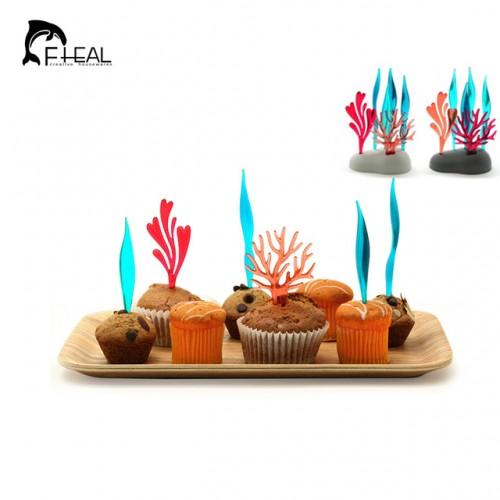 FHEAL 6pcs Bright Vivid Coral Fruit Forks Set For Fruit Dessert Cake Cocktail Plastic Fork Tableware.jpg 640x640