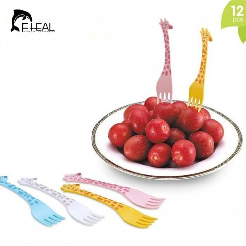 FHEAL New 12pcs lot Giraffe Shape Fruit Fork Set Cartoon Animal Salad Forks Cake Fruit Picks