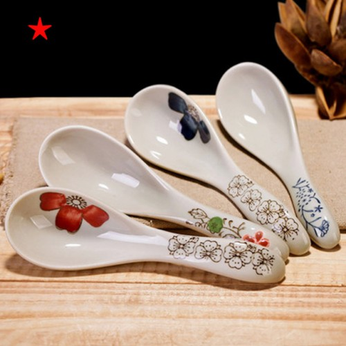 Japan style ceramic glaze spoon soup spoon rice spoon flower pattern hotel restaurant and practical household.jpg 640x640
