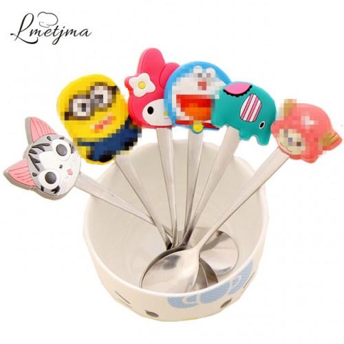 LMETJMA Kawaii 6pcs lot Stainless Steel Silicone Cartoon Character Spoon Children Kid Spoon Soup Coffee Spoon.jpg 640x640